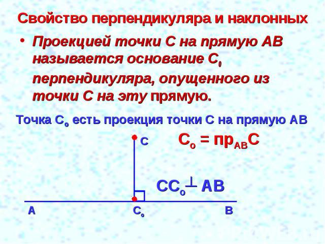 Свойство перпендикуляра и наклонных Проекцией точки С на прямую АВ называется основание С0 перпендикуляра, опущенного из точки С на эту прямую.Точка Со есть проекция точки С на прямую АВСо = прАВС