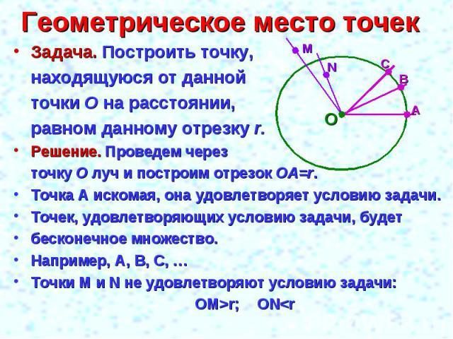 Геометрическое место точек Задача. Построить точку, находящуюся от данной точки О на расстоянии, равном данному отрезку r.Решение. Проведем через точку О луч и построим отрезок ОА=r.Точка А искомая, она удовлетворяет условию задачи.Точек, удовлетвор…