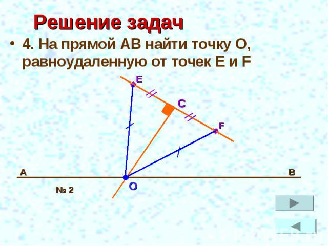 Решение задач 4. На прямой АВ найти точку О, равноудаленную от точек E и F