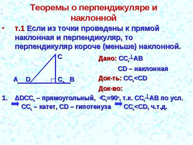 Теоремы о перпендикуляре и наклонной т.1 Если из точки проведены к прямой наклонная и перпендикуляр, то перпендикуляр короче (меньше) наклонной.Дано: ССо┴АВСD – наклоннаяДок-ть: ССо