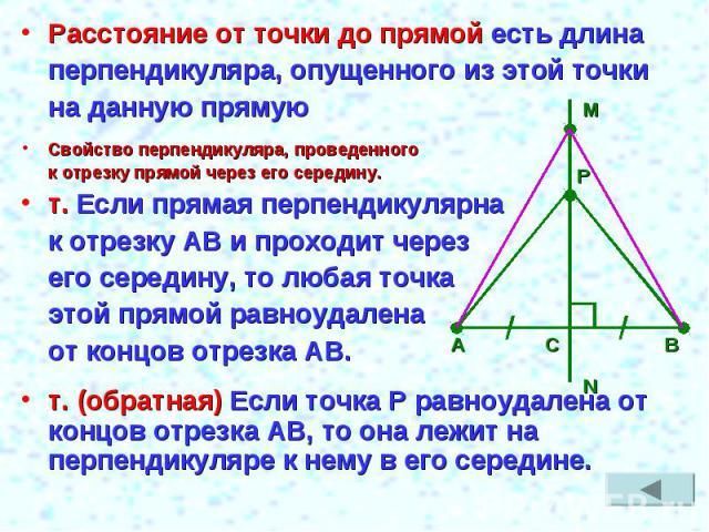 Расстояние от точки до прямой есть длинаперпендикуляра, опущенного из этой точкина данную прямуюСвойство перпендикуляра, проведенного к отрезку прямой через его середину.т. Если прямая перпендикулярна к отрезку АВ и проходит через его середину, то л…