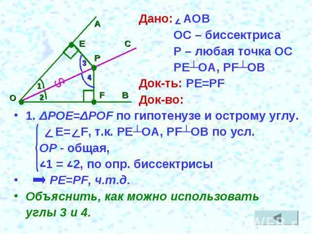 Дано: АОВ ОС – биссектриса Р – любая точка ОС РЕ┴ОА, РF┴ОВДок-ть: PE=PFДок-во:1. ΔРОЕ=ΔPOF по гипотенузе и острому углу. Е= F, т.к. РЕ┴ОА, РF┴ОВ по усл. ОР - общая, 1 = 2, по опр. биссектрисы PE=PF, ч.т.д.Объяснить, как можно использовать углы 3 и 4.