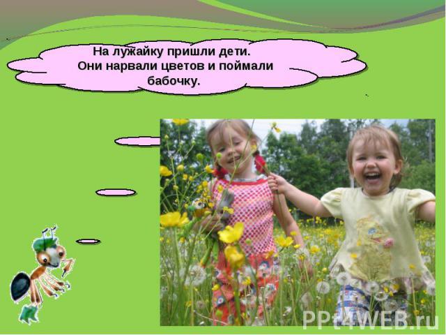 На лужайку пришли дети. Они нарвали цветов и поймали бабочку.