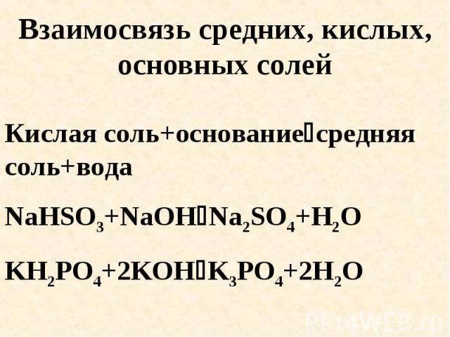 Взаимосвязь средних, кислых, основных солей Кислая соль+основаниесредняя соль+водаNaHSO3+NaOHNa2SO4+H2OKH2PO4+2KOHK3PO4+2H2O