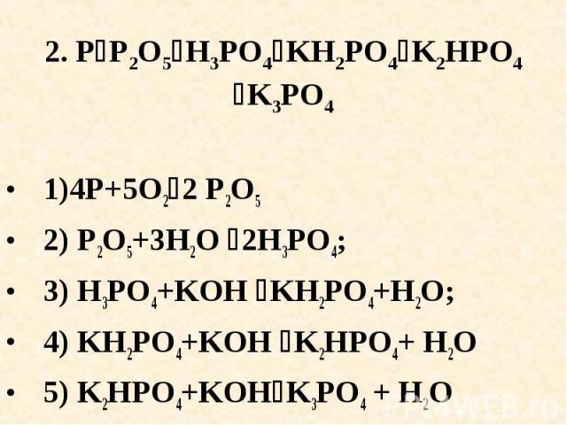2. PP2O5H3PO4KH2PO4K2HPO4K3PO4 1)4P+5O22 P2O5 2) P2O5+3H2O 2H3PO4;3) H3PO4+KOH KH2PO4+H2O; 4) KH2PO4+KOH K2HPO4+ H2O5) K2HPO4+KOHK3PO4 + H2O