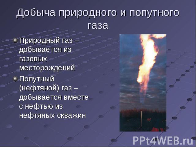 Добыча природного и попутного газа Природный газ – добывается из газовых месторожденийПопутный (нефтяной) газ – добывается вместе с нефтью из нефтяных скважин