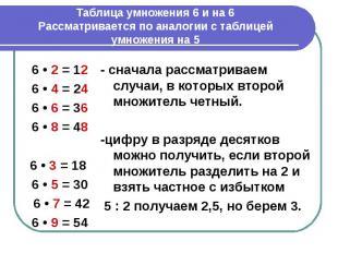 Таблица умножения 6 и на 6Рассматривается по аналогии с таблицей умножения на 5