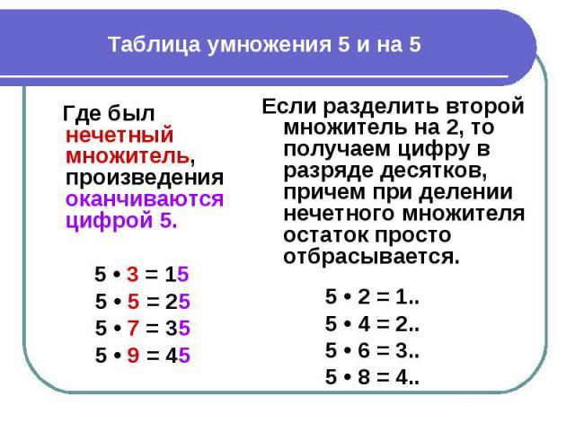 Таблица умножения 5 и на 5 Где был нечетный множитель, произведения оканчиваются цифрой 5. 5 • 3 = 155 • 5 = 255 • 7 = 355 • 9 = 45Если разделить второй множитель на 2, то получаем цифру в разряде десятков, причем при делении нечетного множителя ост…