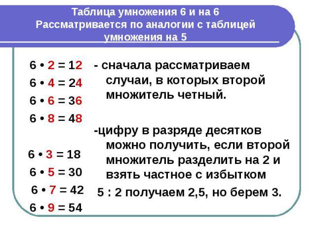 Таблица умножения 6 и на 6Рассматривается по аналогии с таблицей умножения на 5 6 • 2 = 126 • 4 = 246 • 6 = 366 • 8 = 486 • 3 = 18 6 • 5 = 30 6 • 7 = 42 6 • 9 = 54 - сначала рассматриваем случаи, в которых второй множитель четный.-цифру в разряде де…