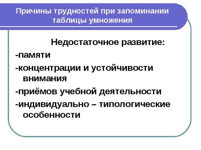 Причины трудностей при запоминании таблицы умножения Недостаточное развитие:-памяти-концентрации и устойчивости внимания-приёмов учебной деятельности-индивидуально – типологические особенности