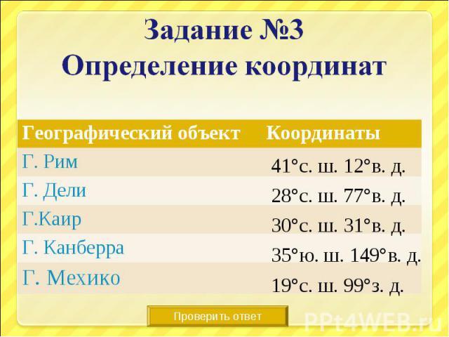 Задание №3Определение координат