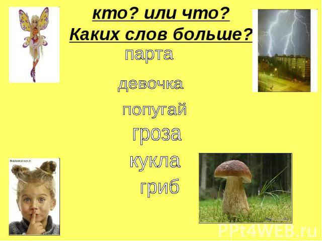 кто? или что?Каких слов больше? парта девочка попугай гроза кукла гриб