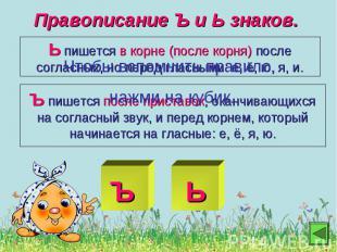 Правописание Ъ и Ь знаков.Ь пишется в корне (после корня) после согласных, но пе