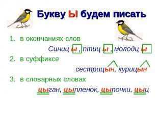 Букву Ы будем писать в окончаниях словСиниц ы , птиц ы , молодц ы в суффиксесест