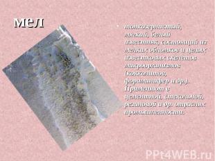 мел тонкозернистый, мягкий, белый известняк, состоящий из мелких обломков и целы