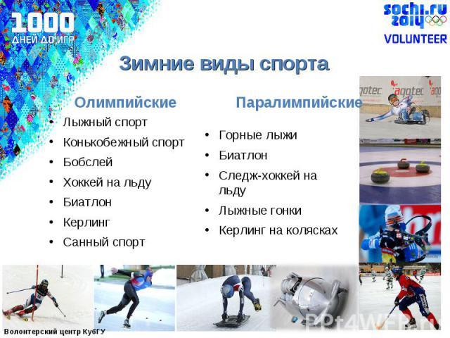 Зимние виды спортаЛыжный спортКонькобежный спортБобслейХоккей на льду Биатлон Керлинг Санный спортГорные лыжи БиатлонСледж-хоккей на льдуЛыжные гонкиКерлинг на колясках