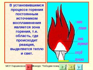 В установившемся процессе горения постоянным источником воспламенения является з