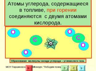 Атомы углерода, содержащиеся в топливе, при горении соединяются с двумя атомами