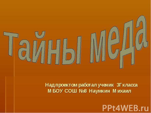 Тайны меда Над проектом работал ученик 3Гкласса МБОУ СОШ №8 Наумкин Михаил