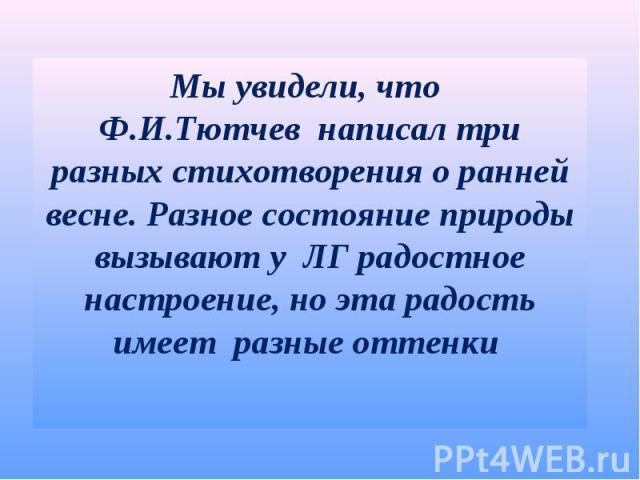 Мы увидели, что Ф.И.Тютчев написал три разных стихотворения о ранней весне. Разное состояние природы вызывают у ЛГ радостное настроение, но эта радость имеет разные оттенки