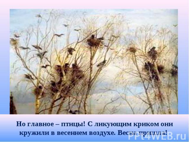 Но главное – птицы! С ликующим криком они кружили в весеннем воздухе. Весна пришла!