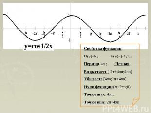 Свойства функции:D(y)=R; E(y)=[-1;1];Период: 4π ; Четная;Возрастает: [-2π+4πn;4π
