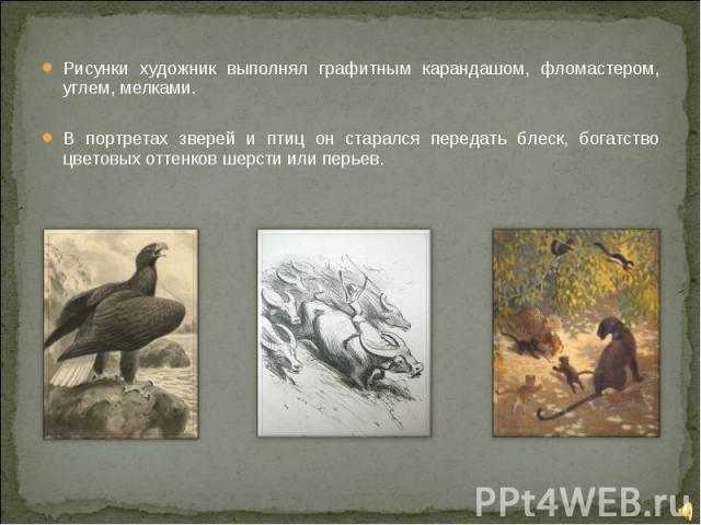 Рисунки художник выполнял графитным карандашом, фломастером, углем, мелками.В портретах зверей и птиц он старался передать блеск, богатство цветовых оттенков шерсти или перьев.