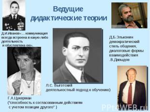 Ведущие дидактические теории Д.И.Иванов«… коммуникация всегда встроена в какую-л