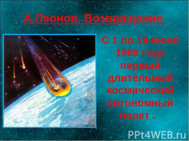 А.Леонов. Возвращение. С 1 по 19 июня 1969 года первый длительный космический автономный полет .