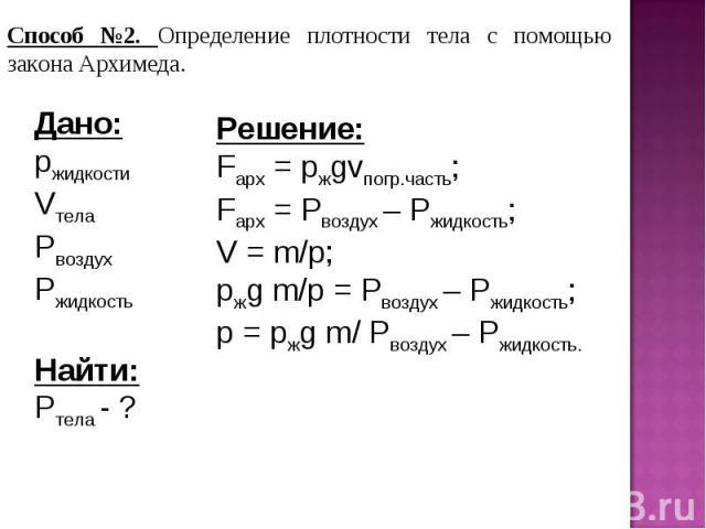 Способ №2. Определение плотности тела с помощью закона Архимеда.Дано:pжидкостиVтелаPвоздухPжидкостьНайти:Pтела - ?Решение:Fарх = pжgvпогр.часть;Fарх = Pвоздух – Pжидкость;V = m/p;pжg m/p = Pвоздух – Pжидкость;p = pжg m/ Pвоздух – Pжидкость.