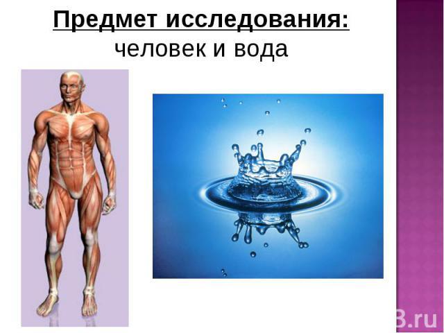 Предмет исследования: человек и вода