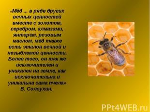 «Мёд ... в ряде других вечных ценностей вместе с золотом, серебром, алмазами, ян