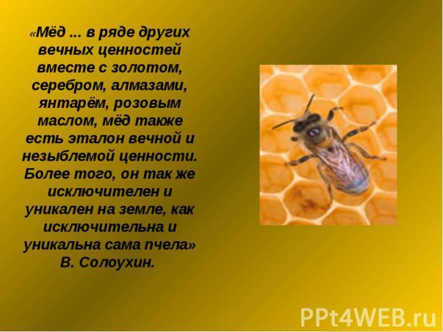 «Мёд ... в ряде других вечных ценностей вместе с золотом, серебром, алмазами, янтарём, розовым маслом, мёд также есть эталон вечной и незыблемой ценности. Более того, он так же исключителен и уникален на земле, как исключительна и уникальна сама пче…