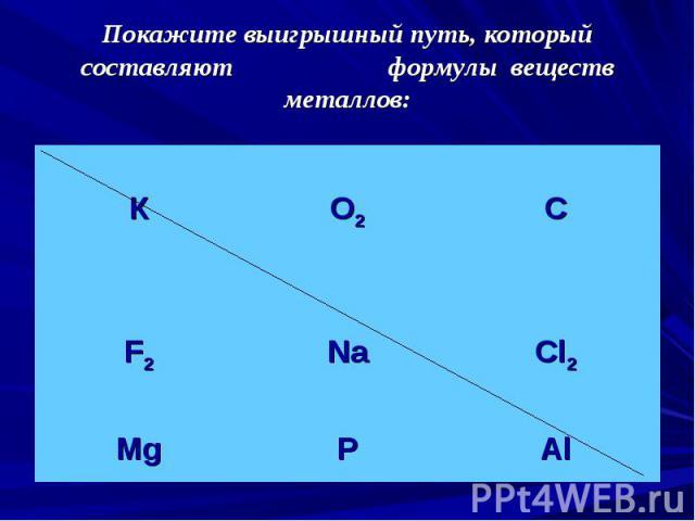 Покажите выигрышный путь, который составляют формулы веществ металлов: