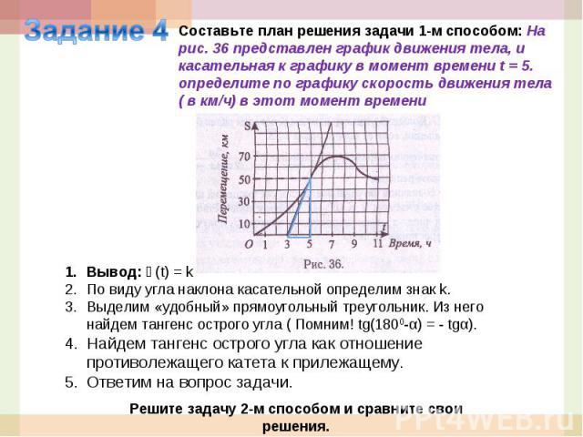 Задание 4Составьте план решения задачи 1-м способом: На рис. 36 представлен график движения тела, и касательная к графику в момент времени t = 5. определите по графику скорость движения тела ( в км/ч) в этот момент времениВывод: ϑ(t) = kПо виду угла…