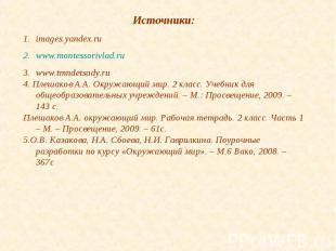 Источники:images.yandex.ruwww.montessorivlad.ruwww.tmndetsady.ru4. Плешаков А.А.