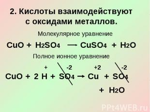 2. Кислоты взаимодействуют с оксидами металлов.Молекулярное уравнениеПолное ионн