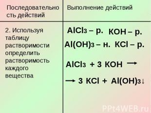 Последовательность действий2. Используя таблицу растворимости определить раствор