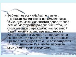 Фабула повести «Чайка по имени Джонатан Ливингстон» незамысловата: чайка Джоната