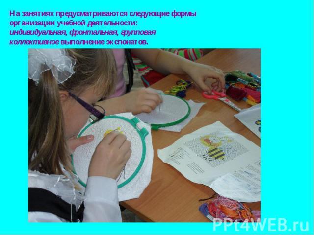 На занятиях предусматриваются следующие формы организации учебной деятельности: индивидуальная, фронтальная, групповая коллективное выполнение экспонатов.