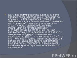 Цели программировались одни, а на деле процесс после распада СССР проходил по-др