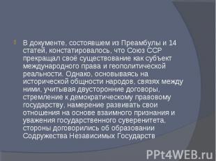 В документе, состоявшем из Преамбулы и 14 статей, констатировалось, что Союз ССР