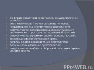 К сферам совместной деятельности государств-членов относятся:обеспечение прав и