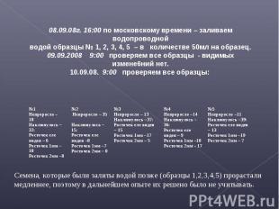 08.09.08г. 16:00 по московскому времени – заливаем водопроводнойводой образцы №