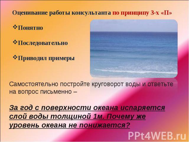 Оценивание работы консультанта по принципу 3-х «П»ПонятноПоследовательноПриводил примерыСамостоятельно постройте круговорот воды и ответьте на вопрос письменно – За год с поверхности океана испаряется слой воды толщиной 1м. Почему же уровень океана …
