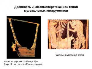 Древность и «взаимоперетекание» типовмузыкальных инструментов Арфа из царских гр