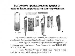 Возможное происхождение цитры от европейских лирообразных инструментов.