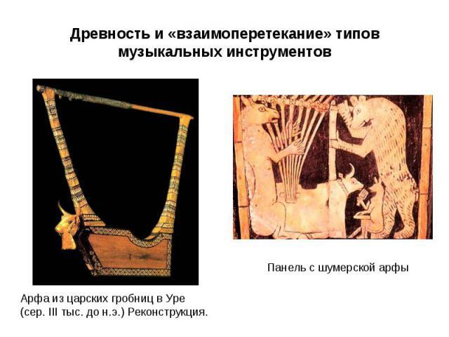 Древность и «взаимоперетекание» типовмузыкальных инструментов Арфа из царских гробниц в Уре(сер. III тыс. до н.э.) Реконструкция.Панель с шумерской арфы