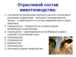 Отраслевой состав животноводства : Скотоводство (разведение крупного рогатого ск