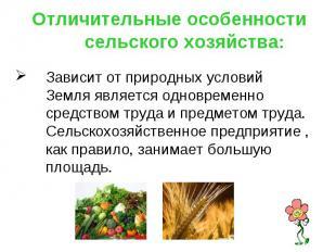Отличительные особенности сельского хозяйства: Зависит от природных условийЗемля